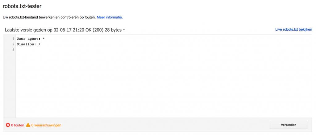 Robots.txt controleren Google Search console