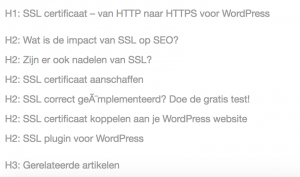 Zoekwoorden in headings - SEO tips