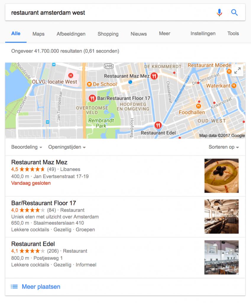 Lokale SEO - zoekresultaten in Google