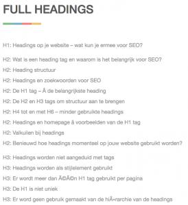 Voorbeeld van H1 tag en andere headings voor SEO